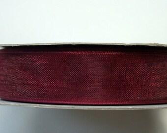 """5/8"""" Organza Ribbon - Wine - 25 yard Spool"""