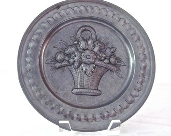 Pewter Plate with Embossed Basket with Flowers from Germany