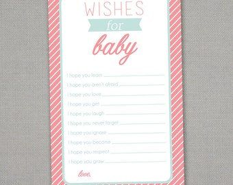 Wishes for Baby - Baby Shower Printable - Immediate Download