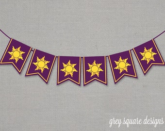 Immediate Download - Tangled Rapunzel Sun Banner