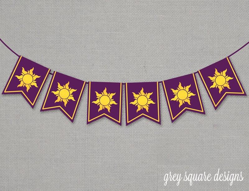 Immediate Download Tangled Rapunzel Sun Banner