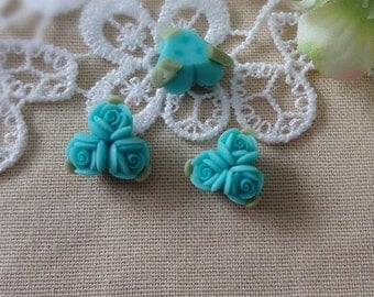 4pcs unique fimo rose flower,Aqua Green