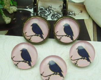 10pcs (12mm ) Handmade Photo Glass Cabochons -Bird   (B1202)