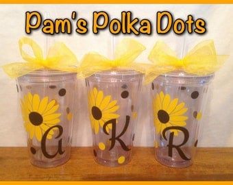4 Personalized Clear TUMBLERS with SUNFLOWER DAISY flower, initial & polka dots Bridesmaid Girlfriend Gift