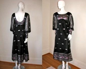 Vintage 1960s Glamorous Black Organza Metallic Silver Brocade Empire Mod Dress