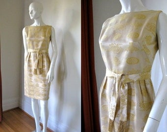 Vintage 1950s Helen Whiting Butter Yellow Wiggle Dress with Asian Pattern Bust 35