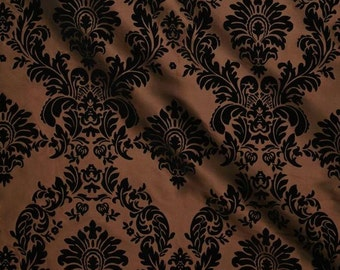 Brown Taffeta Black Flocking Damask fabric per yard
