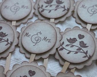 Love Bird Cupcake Pick - Mr.& Mrs. Cupcake Picks - Food Picks - Wedding - Bridal Shower