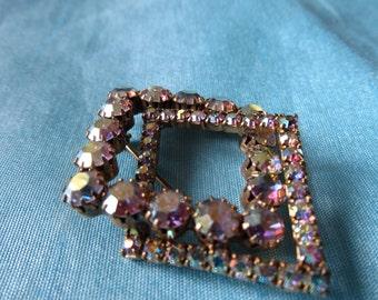 Vintage Aurora Borealis Rhinestone Pin