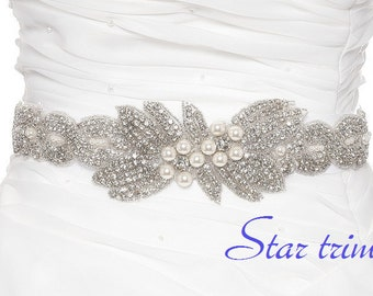 SALE CALUIN Wedding crystal pearl bridal sash , belt