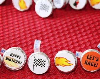 300 RACE CAR Hershey KISS Stickers - Shipped - Racing Hot Wheels Nascar - Delivered to You - Party Favor