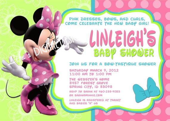 minnie mouse bowtique baby shower invitation pink teal customizable