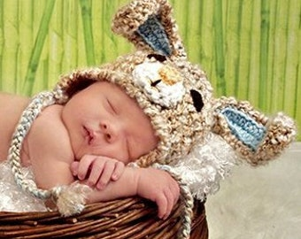 Bunny hat, bunny rabbit hat in tan with pink or blue ears and trim. Newborn through adult sizes available. made to order.