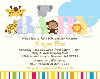 Baby Shower Invitation - Personalized  Animal Safari Jungle Baby Shower Invitation - Digital Print