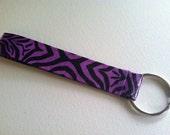 COLLEGE BLOWOUT SALE! Duct Tape Keychain- Purple Zebra