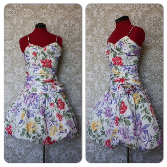 Vintage Ruched Floral Cocktail Dress With Bubble Skirt Size 9