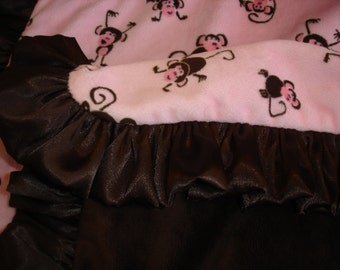 Minky Blanket with Satin Ruffle - Monkies/Brown Minky Velvet