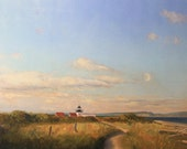 Oil painting lighthouse landscape