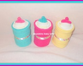 Sale- 3 Baby Diaper, Washcloth, And Sock BOTTLES-CUTE Baby Shower Decoration Idea