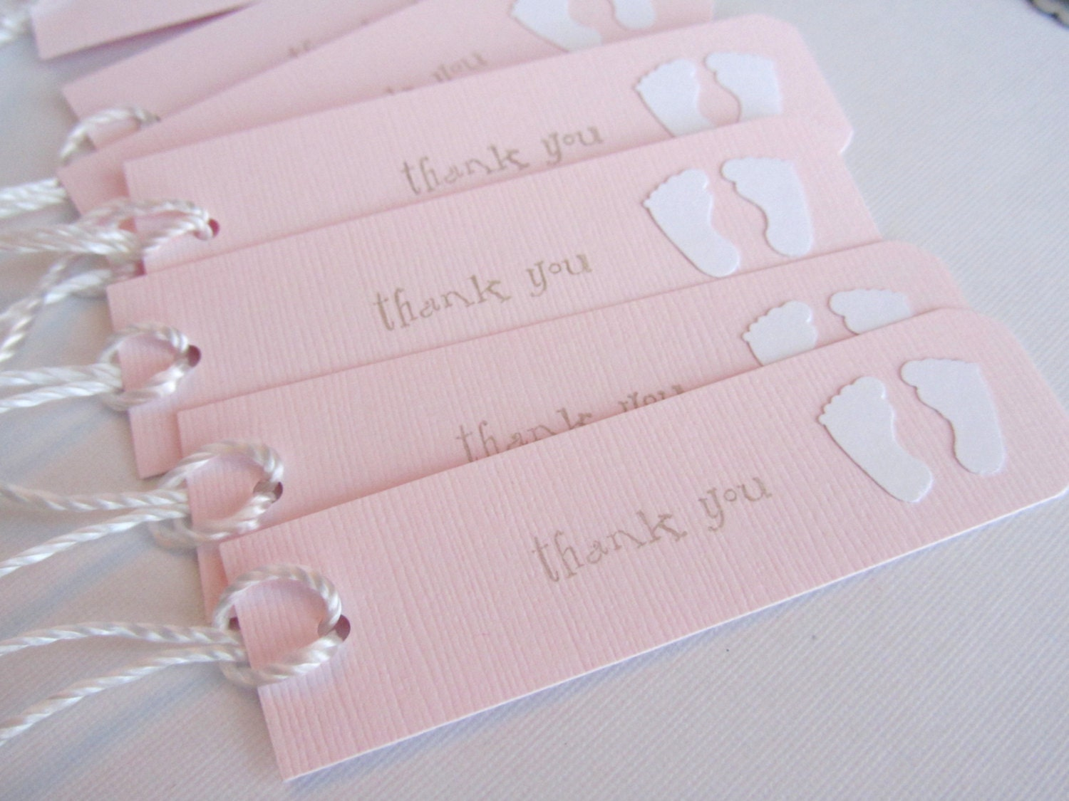 baby shower favor tags thank you tags baby feet pink