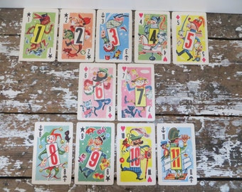 Vintage Whitman Cards Numbered Cards for Scrapbooking Boys Room Decor