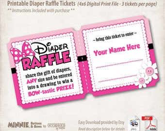 INSTANT DOWNLOAD, Printable Baby Shower Diaper Raffle Tickets, 4x6, Digital File, Minnie Mouse, Buttons & Bows, Pink, Minnie's Bowtique