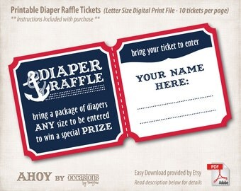 INSTANT DOWNLOAD, Printable Baby Shower Diaper Raffle Tickets, Letter Size, Digital File, Navy & Red, Ahoy, Nautical, Anchor, Aquatic