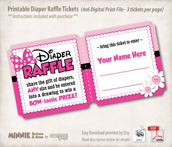 Printable Diaper Raffle Tickets, 4x6 Digital File, Minnie: Buttons ...