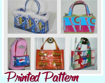 Cookie Wrapper Purse sewing pattern (Printed pattern -Postal delivery) DIY purse made using recycled wrappers, novelty purse, ready-to-ship