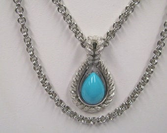 Vintage Signed Avon Faux Turquoise Silver tone Tear Drop Pendant with Double Chain, Southwestern Necklace