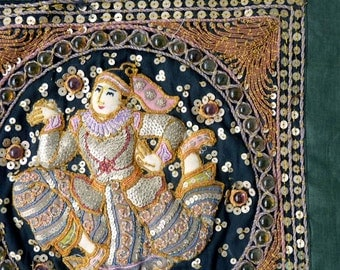 Vintage Kalaga Wall Hanging from Burma, Running dancer embroidery