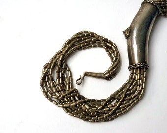 Vintage Tribal Necklace, hammered metal silver color tube beads