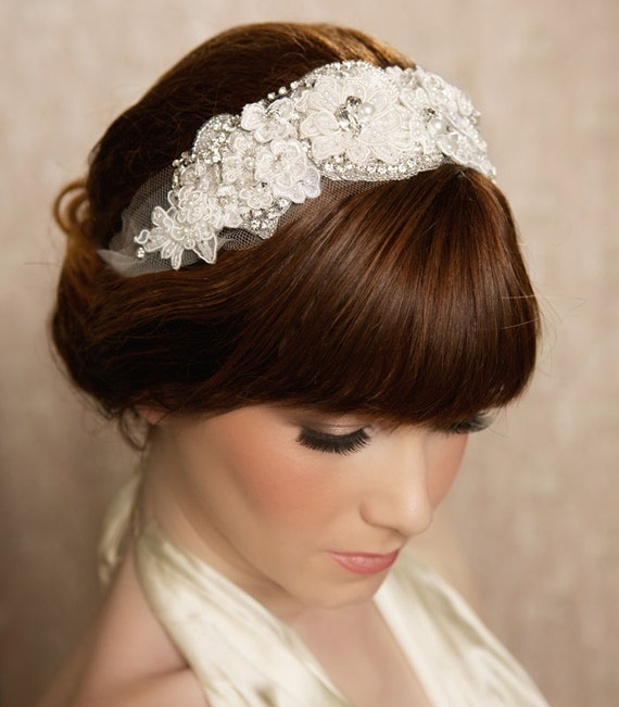 Wedding Hairstyles With Headband And Veil: SALE Lace Bridal Headband Tulle Head Wrap Veil Headband