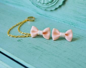 Mini Peach Bow Ear Cuff Earrings (Pair)