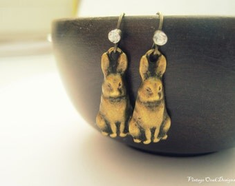 Vintage Bunny Earrings, , Bunny Earrings, Easter Bunny Earrings, Antiqued Bronze Vintage Easter Bunny,Chocolate Bunnies