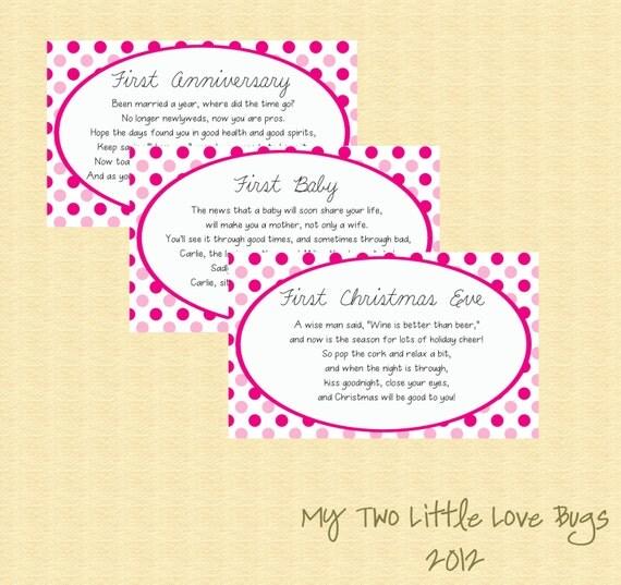 Items Similar To Bridal Shower Wine Basket Poem Tags Gift