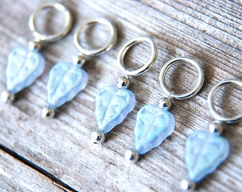 Snag Free Stitch Markers Glass Leaves, Pale Blue AB, Frosted, Carved, Iridescent, Set of 5, Nature, Leaf