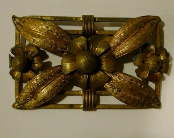 """Victorian brooch, probably made around 1850. 3"""" wide by 1 3/4 tall"""
