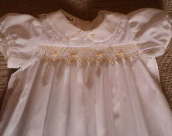 Girls Custom Hand Smocked Dress with Lace . Flower Girl. Beach Portrait.