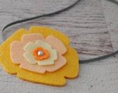 Pansy in Yellows - Wool Felt Flower Headband - size 6-12 months