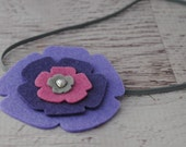 Pansy in Purple - Wool Felt Flower Headband - size 6-12 months