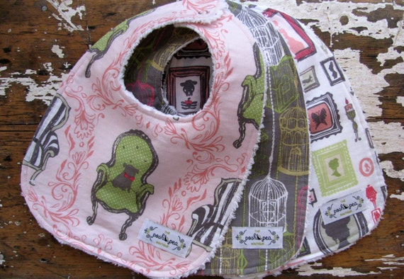 Baby Bibs for Baby Girl - Set of 3 - Pink and Grey - Queen Anne Chair, Birdcages, and Gallery Frames