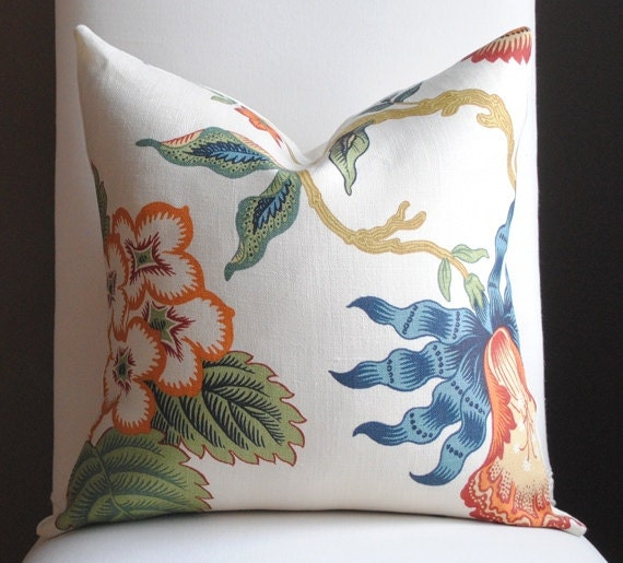 Ready to Ship-Beautiful  FLORAL Decorative Pillow Cover- Hot House Flowers-18x18-LINEN-Throw Pillow-Accent Pillow-Blue-Green-Red-Orange-Gold