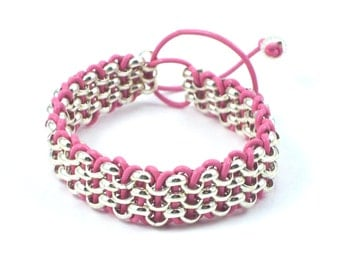 Silver Chain and Pink Leather Cord Cuff Bracelet