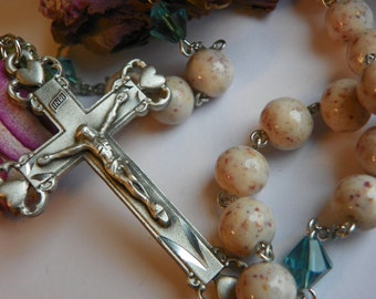 Rosaries made with YOUR special dried flowers, ashes or fabrics from wedding, first communion, funeral or birth