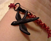 Red Spiral Bracelet with Matte Black Bird Charm, double helix, jens pind, chainmaille