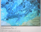 Abstract Art Turquoise Blue Abstract Painting - Original Art on Canvas - Large 36 x 24 - Modern Art