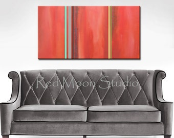 Art featured on HGTV - Abstract Art - Shipping Included - Large 48x24 Painting Coral Turquoise Grey Gray Stripes, Minimalist Original Modern