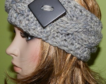 Hand Knitted Cable Chunky Headwarmer, Chunky Headband, Cable Headwrap with  Big Button on the side in Grey Denim