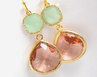 Gold Peach Earrings, Mint Green Earrings, Champagne Earrings, Bridesmaid Jewelry, Wedding Jewelry, Bridesmaid Earrings, Bridesmaid Gifts